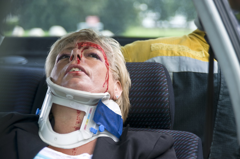 Head and neck injury in an accident